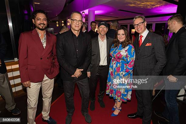 Actors Irrfan Khan Tom Hanks director Ron Howard actress Melissa McCarthy and director/writer Paul Feig attend Sony and Marina Bay Sands benefits Art...