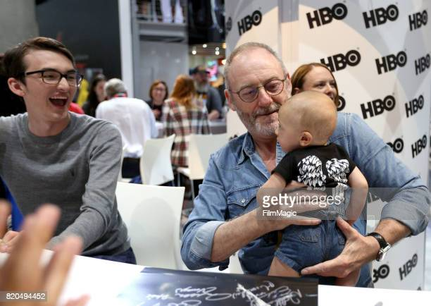 Actors Isaac Hempstead Wright and Liam Cunningham at the 'Game of Thrones' autograph signing with HBO at San Diego ComicCon International 2017 at San...