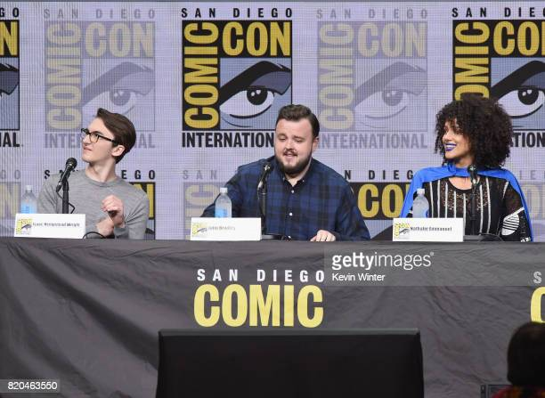 Actors Isaac Hempstead Wright John Bradley and Nathalie Emmanuel speak onstage at ComicCon International 2017 'Game Of Thrones' panel And QA Session...