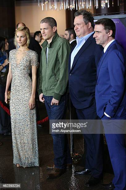 Actors Isabel Lucas Wentworth Miller Eric Stonestreet and director Erik Van Looy attend the screening of Open Road Films' 'The Loft' at Directors...