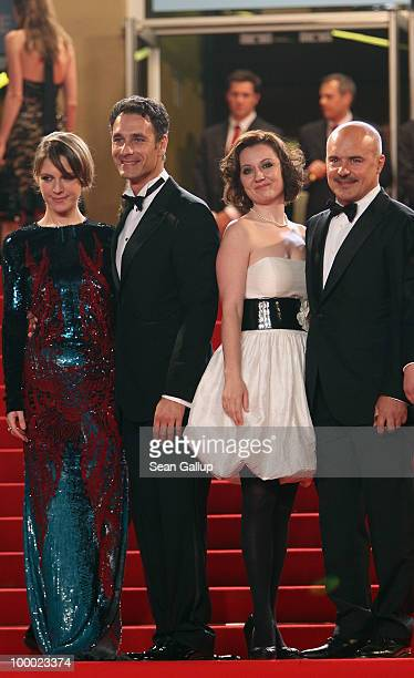 Actors Isabella Ragonese Raoul Bova Alina Berzenteanu and Luca Zingaretti attend the 'Our Life' Premiere at the Palais des Festivals during the 63rd...