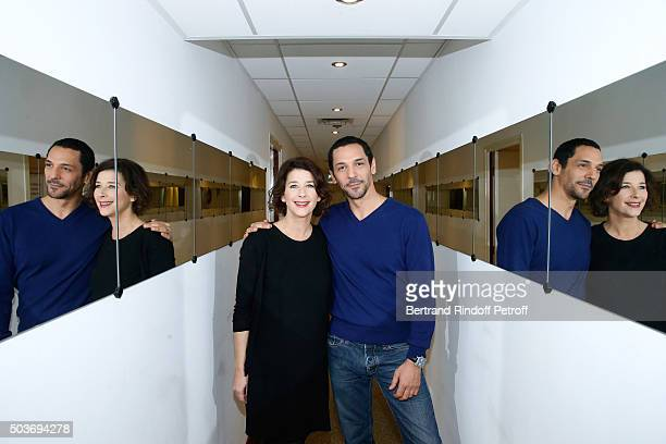 Actors Isabelle Gelinas and Tomer Sisley present the TV Movie 'Stavisky lescroc du siecle' during the 'Vivement Dimanche' French TV Show at Pavillon...