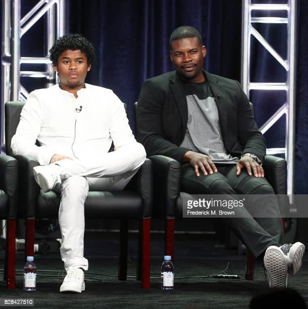Actors Isaiah John and Amin Joseph of 'Snowfall' speak onstage during the FX portion of the 2017 Summer Television Critics Association Press Tour at...