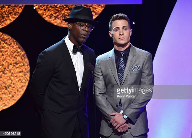 Actors Isaiah Washington and Colton Haynes speak onstage during the 4th Annual Critics' Choice Television Awards at The Beverly Hilton Hotel on June...