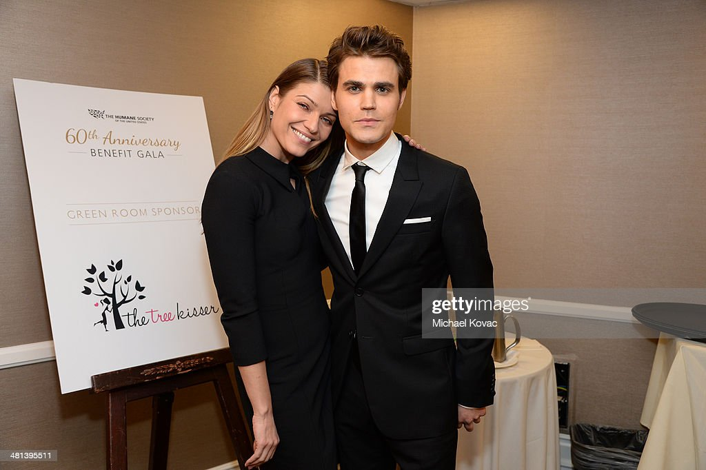 Actors Ivana Milicevic (L) and Paul Wesley attend the Humane Society of The United States 60th Anniversary Gala at The Beverly Hilton Hotel on March 29, 2014 in Beverly Hills, California.