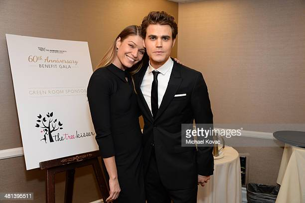 Actors Ivana Milicevic and Paul Wesley attend the Humane Society of The United States 60th Anniversary Gala at The Beverly Hilton Hotel on March 29...