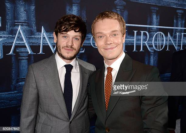 Actors Iwan Rheon and Alfie Allen attend the premiere for the sixth season of HBO's 'Game Of Thrones' at TCL Chinese Theatre on April 10 2016 in...