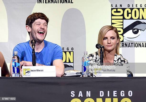 Actors Iwan Rheon and Faye Marsay attend the 'Game Of Thrones' panel during ComicCon International 2016 at San Diego Convention Center on July 22...