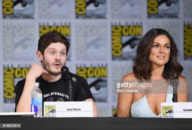 Actors Iwan Rheon and Serinda Swan speak onstage at Marvel Television Marvel's 'Inhumans' panel at San Diego Convention Center on July 20 2017 in San...