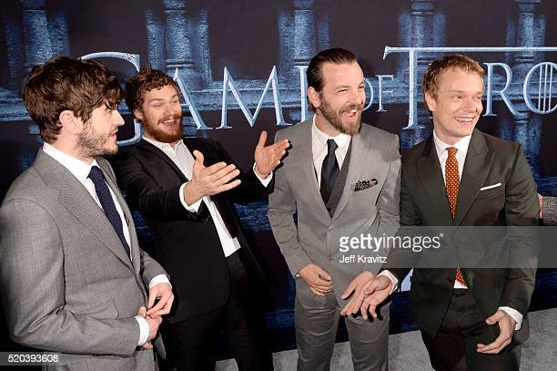Actors Iwan Rheon Finn Jones Gethin Anthony and Alfie Allen attend the premiere for the sixth season of HBO's 'Game Of Thrones' at TCL Chinese...