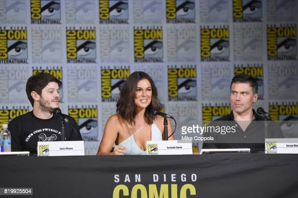 Actors Iwan Rheon Serinda Swan and Anson Mount speak onstage at Marvel Television Marvel's 'Inhumans' panel at San Diego Convention Center on July 20...