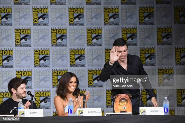 Actors Iwan Rheon Serindo Swan and Anson Mount onstage at Marvel Television Marvel's 'Inhumans' panel at San Diego Convention Center on July 20 2017...