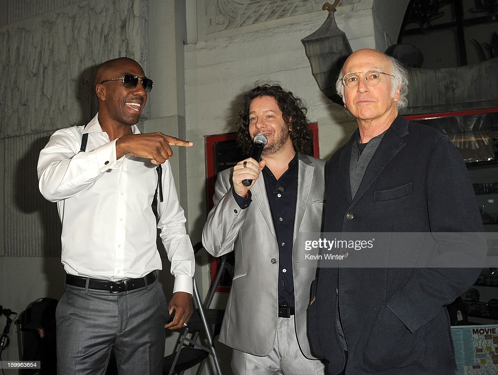 Actors J. B. Smoove, Jeffrey Ross, and <a gi-track='captionPersonalityLinkClicked' href=/galleries/search?phrase=Larry+David&family=editorial&specificpeople=125184 ng-click='$event.stopPropagation()'>Larry David</a> attend the premiere of Relativity Media's 'Movie 43' at TCL Chinese Theatre on January 23, 2013 in Hollywood, California.