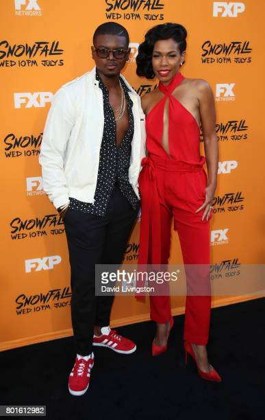 Actors J Mallory McCree and Angela Lewis attend the premiere of FX's 'Snowfall' at The Theatre at Ace Hotel on June 26 2017 in Los Angeles California