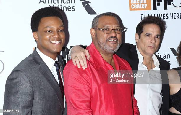 Actors J Quinton Johnson Laurence Fishburne and Yul Vazquez attend the 55th New York Film Festival opening night premiere of 'Last Flag Flying' at...