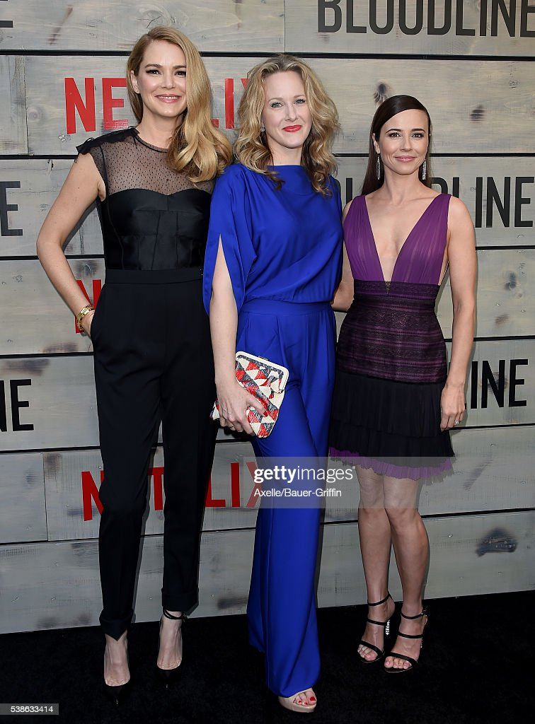 Actors Jacinda Barrett, Katie Finneran and Linda Cardellini arrive at the premiere of Netflix's 'Bloodline' at Landmark Regent on May 24, 2016 in Los Angeles, California.