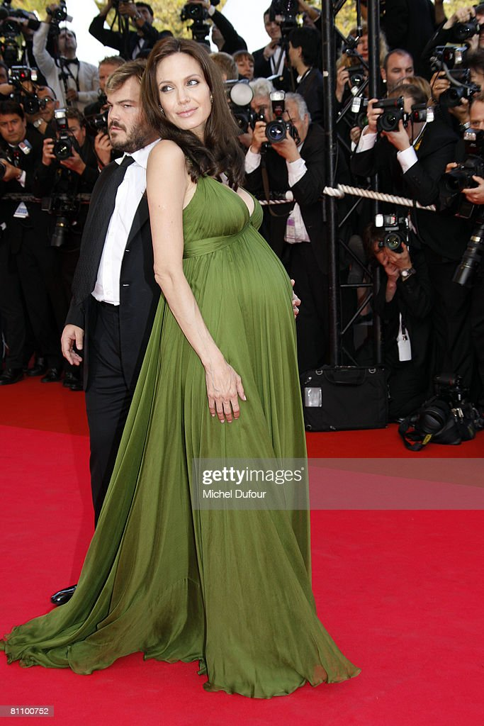 Actors Jack Black (L) and Angelina Jolie arrive at the Kung Fu Panda Premiere at the Palais des Festivals during the 61st International Cannes Film Festival May 15 , 2008 in Cannes, France.
