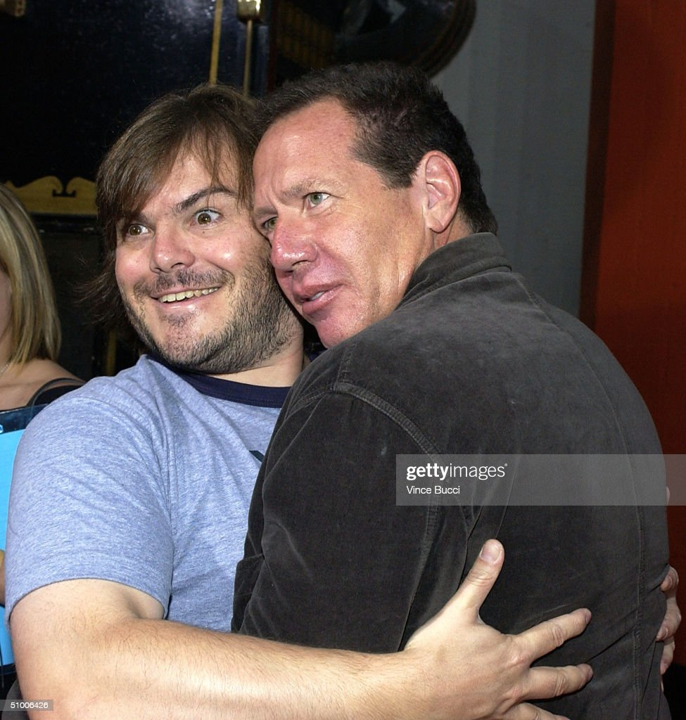 Actors Jack Black and <a gi-track='captionPersonalityLinkClicked' href=/galleries/search?phrase=Garry+Shandling&family=editorial&specificpeople=220833 ng-click='$event.stopPropagation()'>Garry Shandling</a> attend the premiere of the Dreamworks film 'Anchorman' on June 28, 2004 at the Mann's Chinese Theater, in Westwood, California.