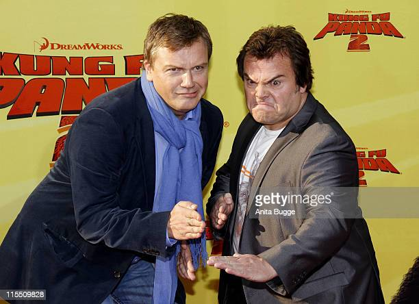 Actors Jack Black and Hape Kerkeling attend the 'Kung Fu Panda 2' Germany Premiere at the Cinemaxx movie theater on June 7 2011 in Berlin Germany