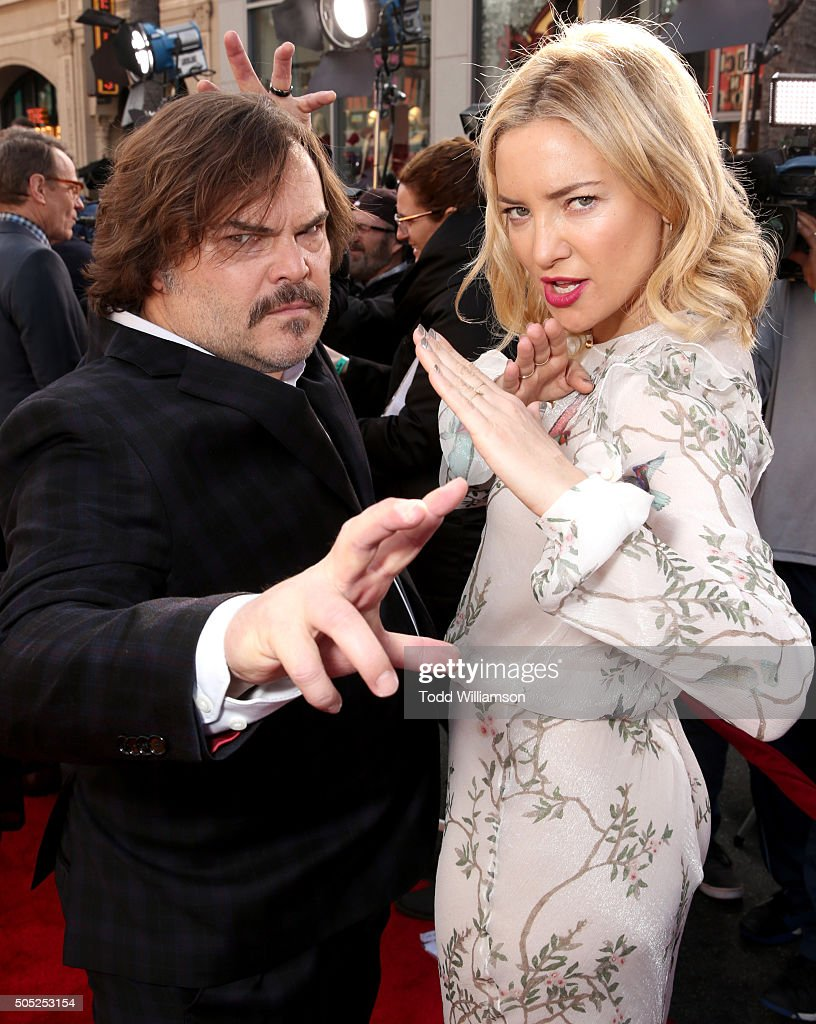 Actors Jack Black (L) and Kate Hudson attend the premiere of DreamWorks Animation and Twentieth Century Fox's 'Kung Fu Panda 3' at the TCL Chinese Theatre on January 16, 2016 in Hollywood, California.