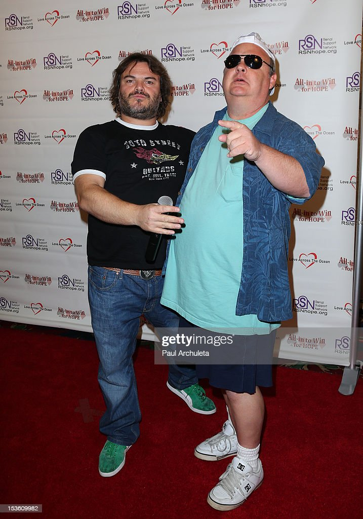 Actors <a gi-track='captionPersonalityLinkClicked' href=/galleries/search?phrase=Jack+Black&family=editorial&specificpeople=171453 ng-click='$event.stopPropagation()'>Jack Black</a> (L) and <a gi-track='captionPersonalityLinkClicked' href=/galleries/search?phrase=Kyle+Gass&family=editorial&specificpeople=171597 ng-click='$event.stopPropagation()'>Kyle Gass</a> (R) attend 'In To Win For Hope' no limit Texas Hold'em celebrity charity poker tournament at The Commerce Casino on October 6, 2012 in City of Commerce, California.