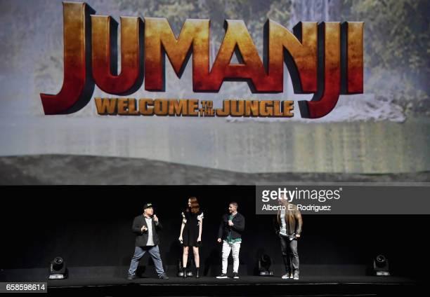 Actors Jack Black Karen Gillan Nick Jonas and Dwayne Johnson speak onstage during the CinemaCon 2017 Gala Opening Night Event Sony Pictures...