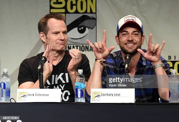 Actors Jack Coleman and Zachary Levi speak onstage at the 'Heroes Reborn' exclusive extended trailer and panel during ComicCon International 2015 at...