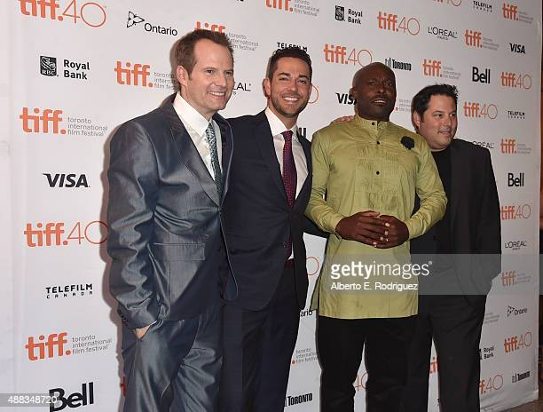 Actors Jack Coleman Zachary Levi Jimmy JeanLouis and Greg Grunberg attend the 'Heroes Reborn' premiere during the 2015 Toronto International Film...