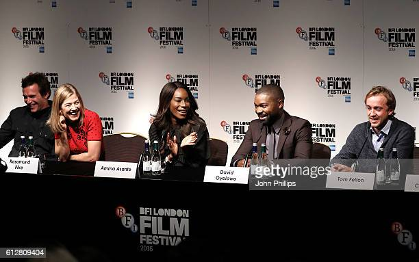 Actors Jack Davenport Rosamund Pike director Amma Asante and actors David Oyelowo and Tom Felton attend the 'A United Kingdom' press conference...