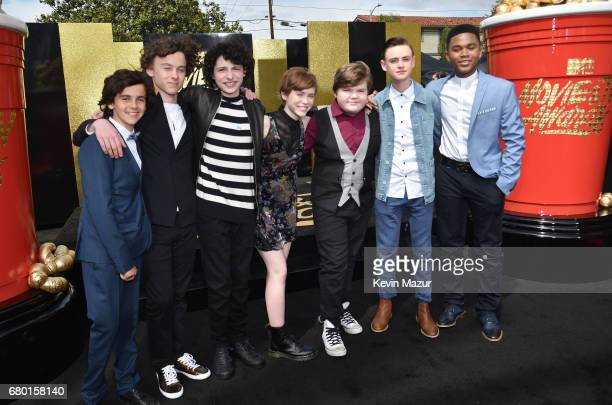 Actors Jack Dylan Grazer Wyatt Oleff Finn Wolfhard Sophia Lillis Jeremy Ray Taylor Jaeden Lieberher and Chosen Jacobs attend the 2017 MTV Movie And...