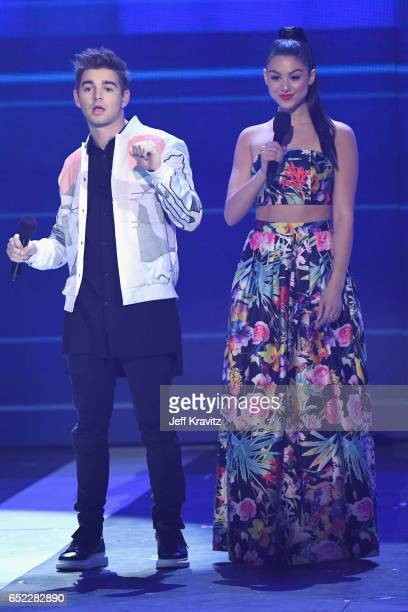 Actors Jack Griffo and Kira Kosarin onstage at Nickelodeon's 2017 Kids' Choice Awards at USC Galen Center on March 11 2017 in Los Angeles California