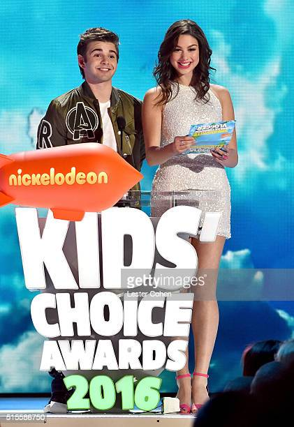 Actors Jack Griffo and Kira Kosarin speak onstage during the 2016 KCA International/Regional Awards at The Forum on March 10 2016 in Inglewood...