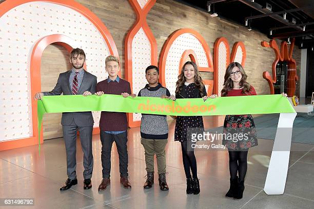 Actors Jack Griffo from The Thundermans Thomas Kuc Benjamin Flores Jr Cree Cicchino and Madisyn Shipman from Game Shakers attend the Ribbon Cutting...