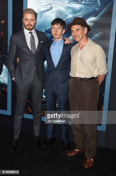 Actors Jack Lowden Barry Keoghan and Mark Rylance attend the 'DUNKIRK' New York premiere at AMC Lincoln Square IMAX on July 18 2017 in New York City