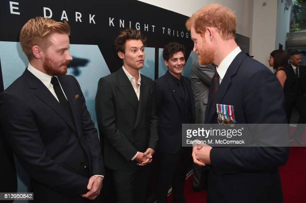 Actors Jack Lowden Harry Styles and Aneurin Barnard are greeted by Prince Harry at the 'Dunkirk' World Premiere at Odeon Leicester Square on July 13...