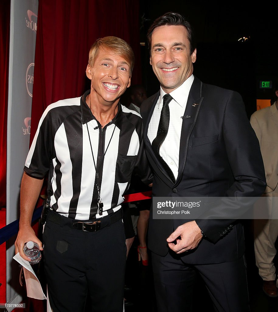 Actors <a gi-track='captionPersonalityLinkClicked' href=/galleries/search?phrase=Jack+McBrayer&family=editorial&specificpeople=4100664 ng-click='$event.stopPropagation()'>Jack McBrayer</a> (L) and <a gi-track='captionPersonalityLinkClicked' href=/galleries/search?phrase=Jon+Hamm&family=editorial&specificpeople=3027367 ng-click='$event.stopPropagation()'>Jon Hamm</a> attend The 2013 ESPY Awards at Nokia Theatre L.A. Live on July 17, 2013 in Los Angeles, California.