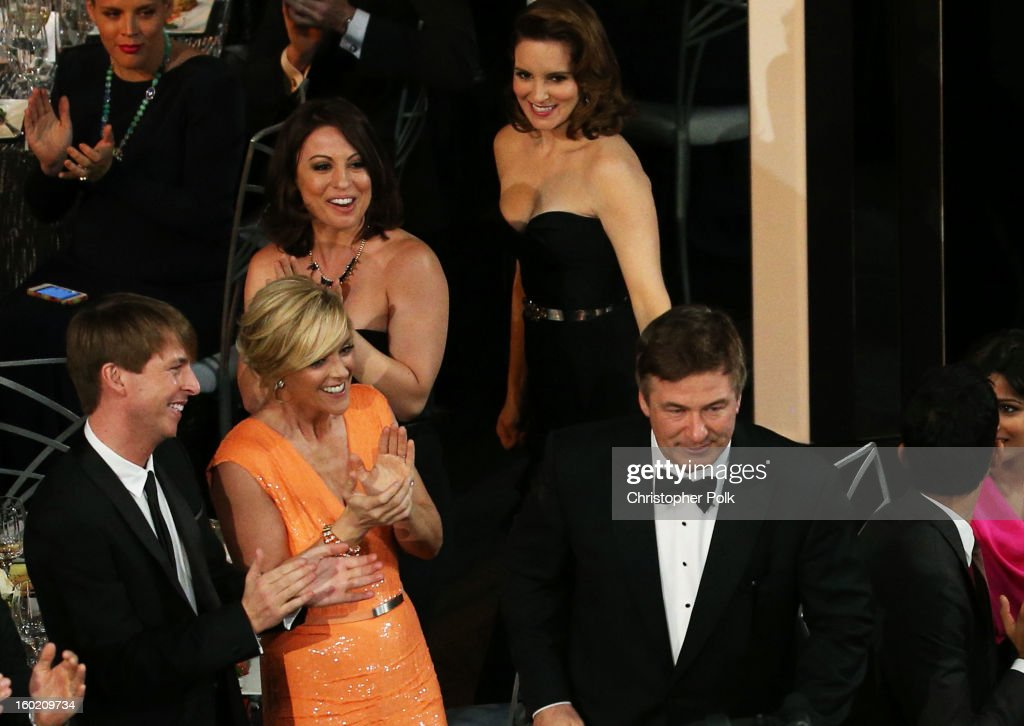 Actors Jack McBrayer, Jane Krakowski, Tina Fey, and Alec Baldwin from the series '30 Rock' attend the 19th Annual Screen Actors Guild Awards at The Shrine Auditorium on January 27, 2013 in Los Angeles, California. (Photo by Christopher Polk/WireImage) 23116_012_1112.jpg