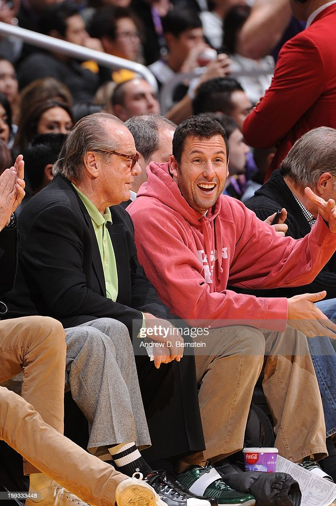 Actors Jack Nicholson and Adam Sandler look on during a game between the Oklahoma City Thunder and the Los Angeles Lakers at Staples Center on January 11, 2013 in Los Angeles, California.