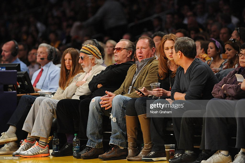 Actors <a gi-track='captionPersonalityLinkClicked' href=/galleries/search?phrase=Jack+Nicholson&family=editorial&specificpeople=91177 ng-click='$event.stopPropagation()'>Jack Nicholson</a> and Gary Shandling attend a game between the Houston Rockets and the Los Angeles Lakers at Staples Center on April 6, 2012 in Los Angeles, California.