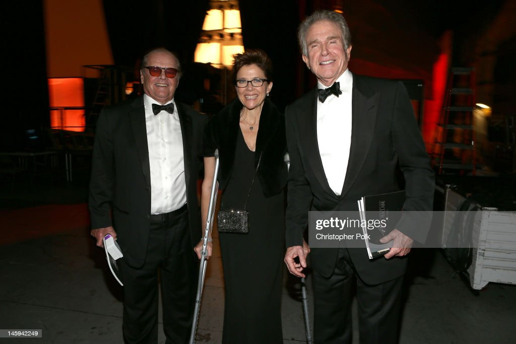 Actors <a gi-track='captionPersonalityLinkClicked' href=/galleries/search?phrase=Jack+Nicholson&family=editorial&specificpeople=91177 ng-click='$event.stopPropagation()'>Jack Nicholson</a>, <a gi-track='captionPersonalityLinkClicked' href=/galleries/search?phrase=Annette+Bening&family=editorial&specificpeople=202568 ng-click='$event.stopPropagation()'>Annette Bening</a> and <a gi-track='captionPersonalityLinkClicked' href=/galleries/search?phrase=Warren+Beatty&family=editorial&specificpeople=201478 ng-click='$event.stopPropagation()'>Warren Beatty</a> attend the 40th AFI Life Achievement Award honoring Shirley MacLaine held at Sony Pictures Studios on June 7, 2012 in Culver City, California. The AFI Life Achievement Award tribute to Shirley MacLaine will premiere on TV Land on Saturday, June 24 at 9PM ET/PST.
