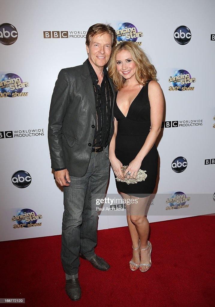 Actors Jack Wagner (L) and Ashley Jones (R) attend the 'Dancing With The Stars' 300th episode after party on May 14, 2013 in Los Angeles, California.