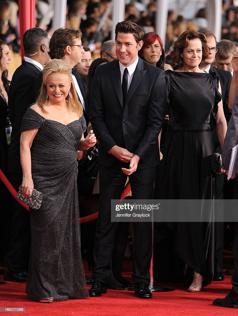 Actors Jacki Weaver, John Krasinski and Sigourney Weaver arrive at the 19th Annual Screen Actors Guild Awards held at The Shrine Auditorium on January 27, 2013 in Los Angeles, California.
