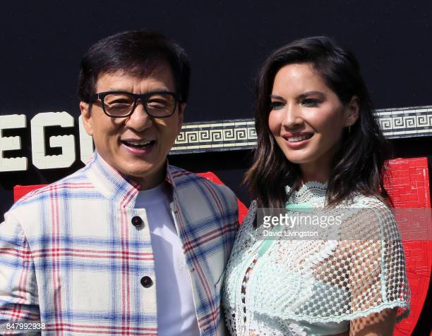 Actors Jackie Chan and Olivia Munn attend the premiere of Warner Bros Pictures' 'The LEGO Ninjago Movie' at the Regency Village Theatre on September...