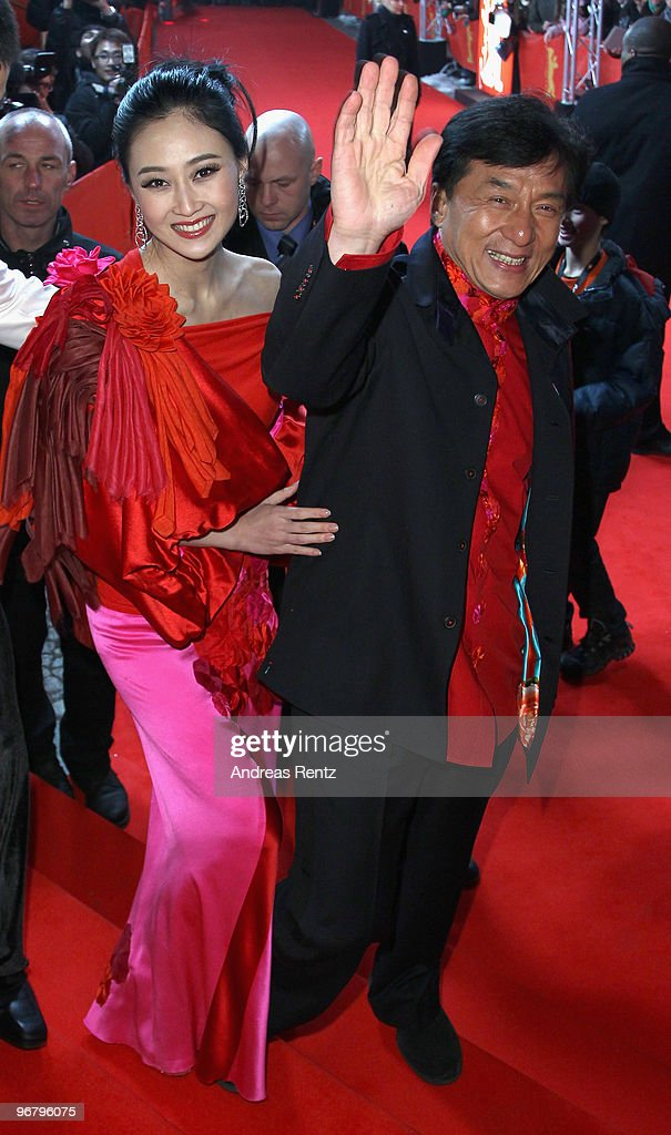 Actors Jackie Chan and Peng Lin attend the 'Da Bing Xiao Jiang' - Premiere during day seven of the 60th Berlin International Film Festival at the Friedrichstadtpalast on February 17, 2010 in Berlin, Germany.
