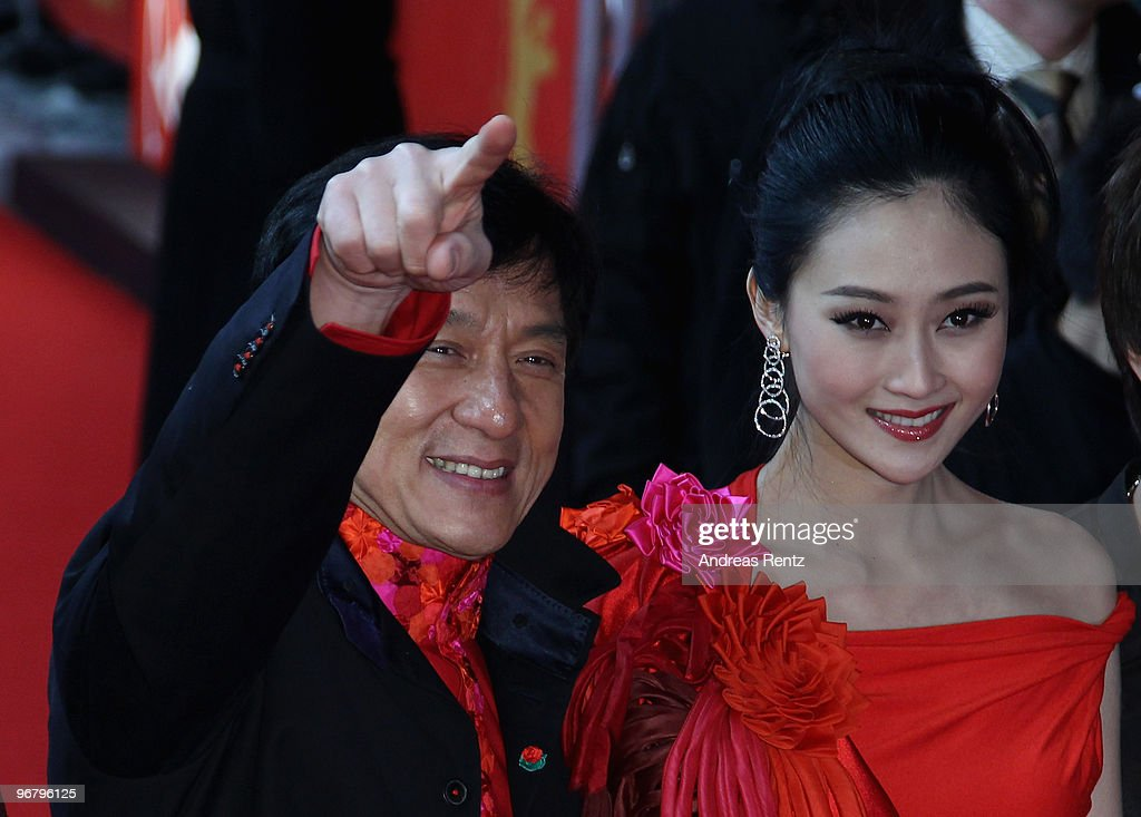 Actors Jackie Chan (R) and Peng Lin (C) attend the 'Da Bing Xiao Jiang' - Premiere during day seven of the 60th Berlin International Film Festival at the Friedrichstadtpalast on February 17, 2010 in Berlin, Germany.