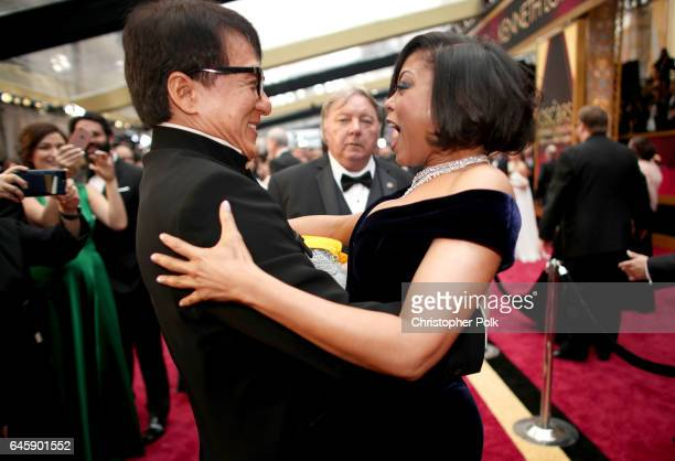 Actors Jackie Chan and Taraji P Henson attend the 89th Annual Academy Awards at Hollywood Highland Center on February 26 2017 in Hollywood California