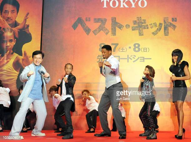 Actors Jackie Chan Jaden Smith producer Will Smith Willow Smith and producer Jada Pinkett Smith attend 'The Karate Kid' movie premier at Roppongi...