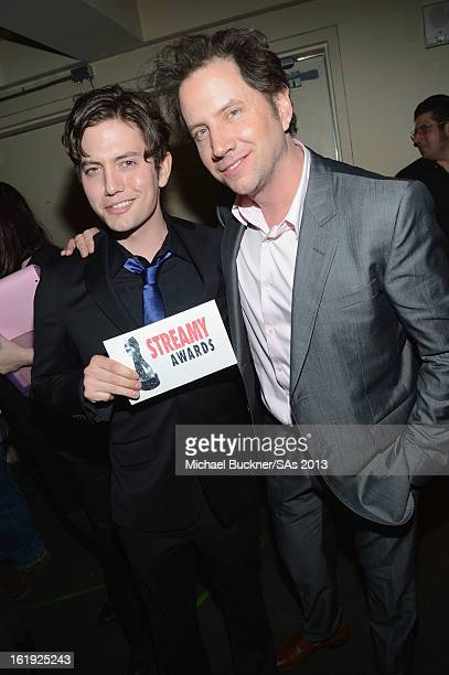 Actors Jackson Rathbone and Jamie Kennedy attend the 3rd Annual Streamy Awards at Hollywood Palladium on February 17 2013 in Hollywood California