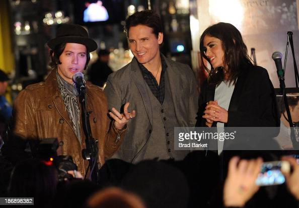 Actors Jackson Rathbone Peter Facinelli and Nikki Reed attends the Twilight Forever Fan Experience Exhibit launch at Planet Hollywood Times Square on...
