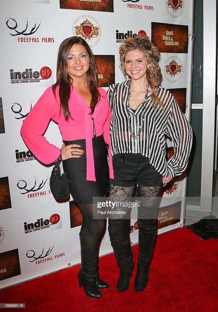 Actors Jaclyn Marfuggi (L) and Caroline Heinle (R) attend the 'Guns, Girls & Gambling' screening at the Laemmle NoHo 7 on December 13, 2012 in North Hollywood, California.